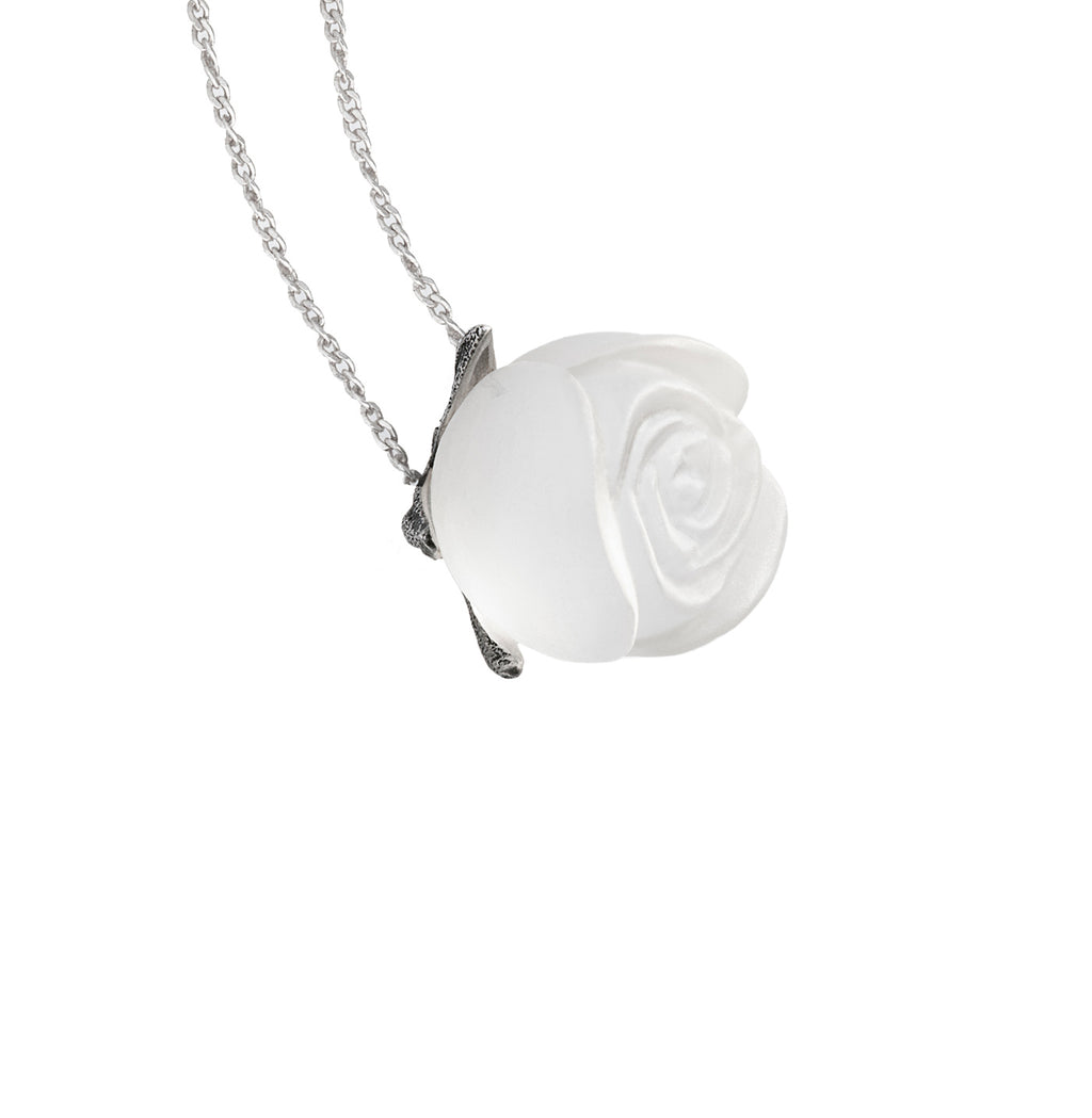 Crystal rose pendant in silver by Velar