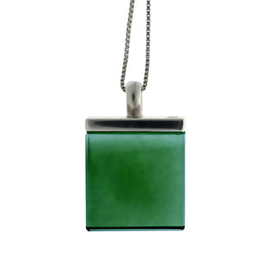 Ink Mirror pendant with green grown quartz