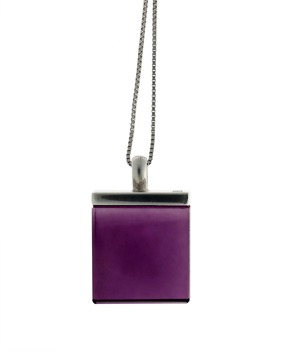 Ink Mirror pendant with purple coloured rock crystal