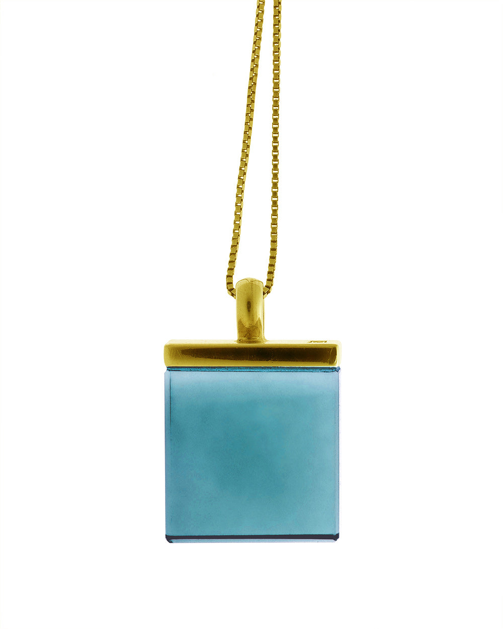 Ink Mirror pendant by Velar with blue crystal
