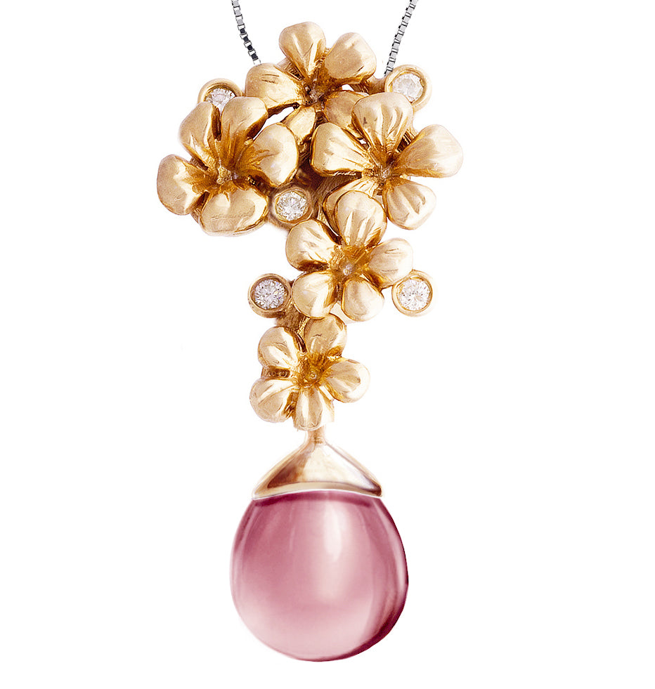 Rose Gold Blossom Pendant Necklace 0.15 Carat Diamonds, Featured in Vogue