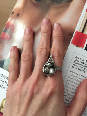 Fig on a Leaf Ring with Diamonds