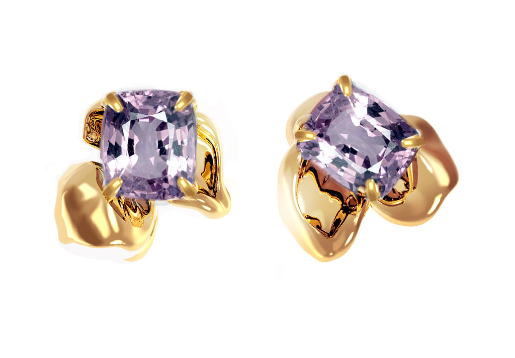 18 Karat Rose Gold Contemporary Stud Earrings with Cushion Purple Spinels