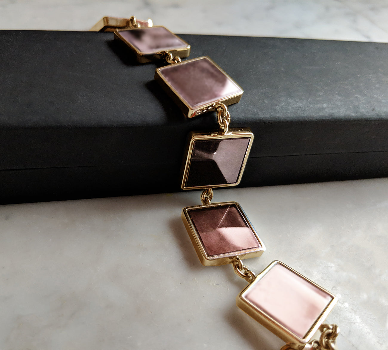 14 Karat Rose Gold Contemporary Bracelet with Big Rose Quartzes