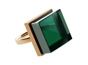 Ink Ring in 18 Karat Rose Gold with Green Quartz