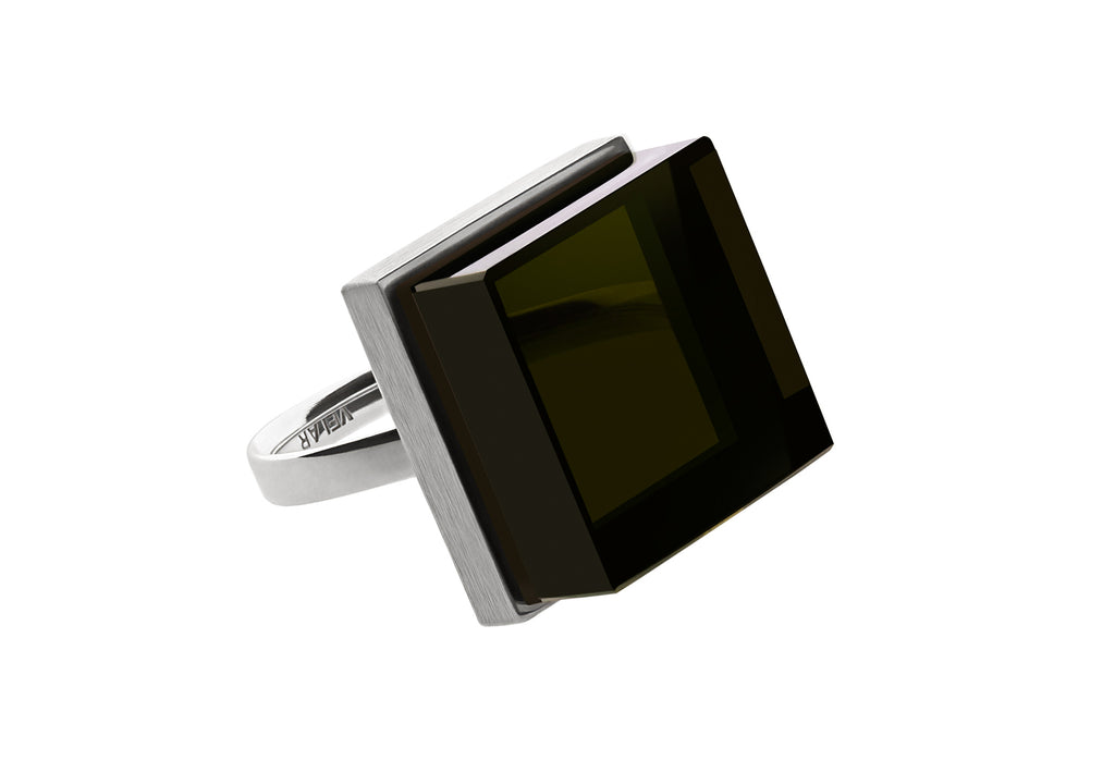 Ink Ring in white gold by Velar with morion
