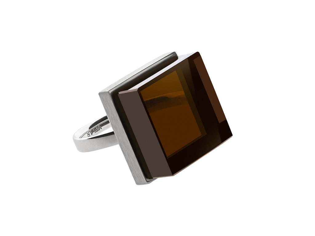 Ink Ring in white gold by Velar with smoky quartz