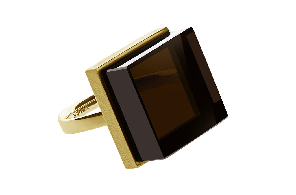 Ink Ring in yellow gold by Velar with morion