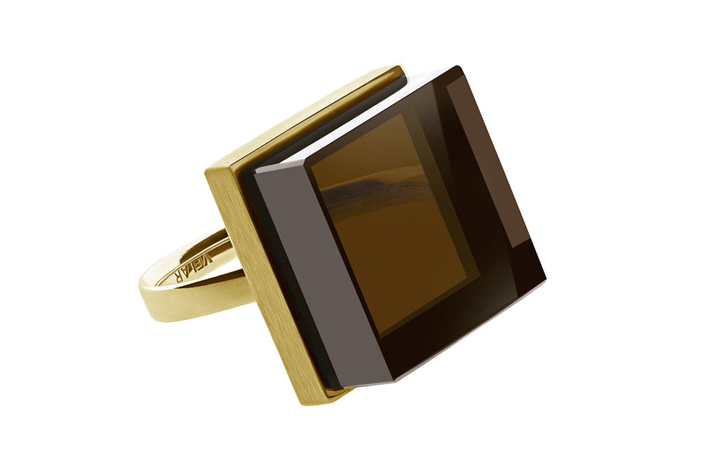 Ink Ring in yellow gold by Velar with smoky quartz