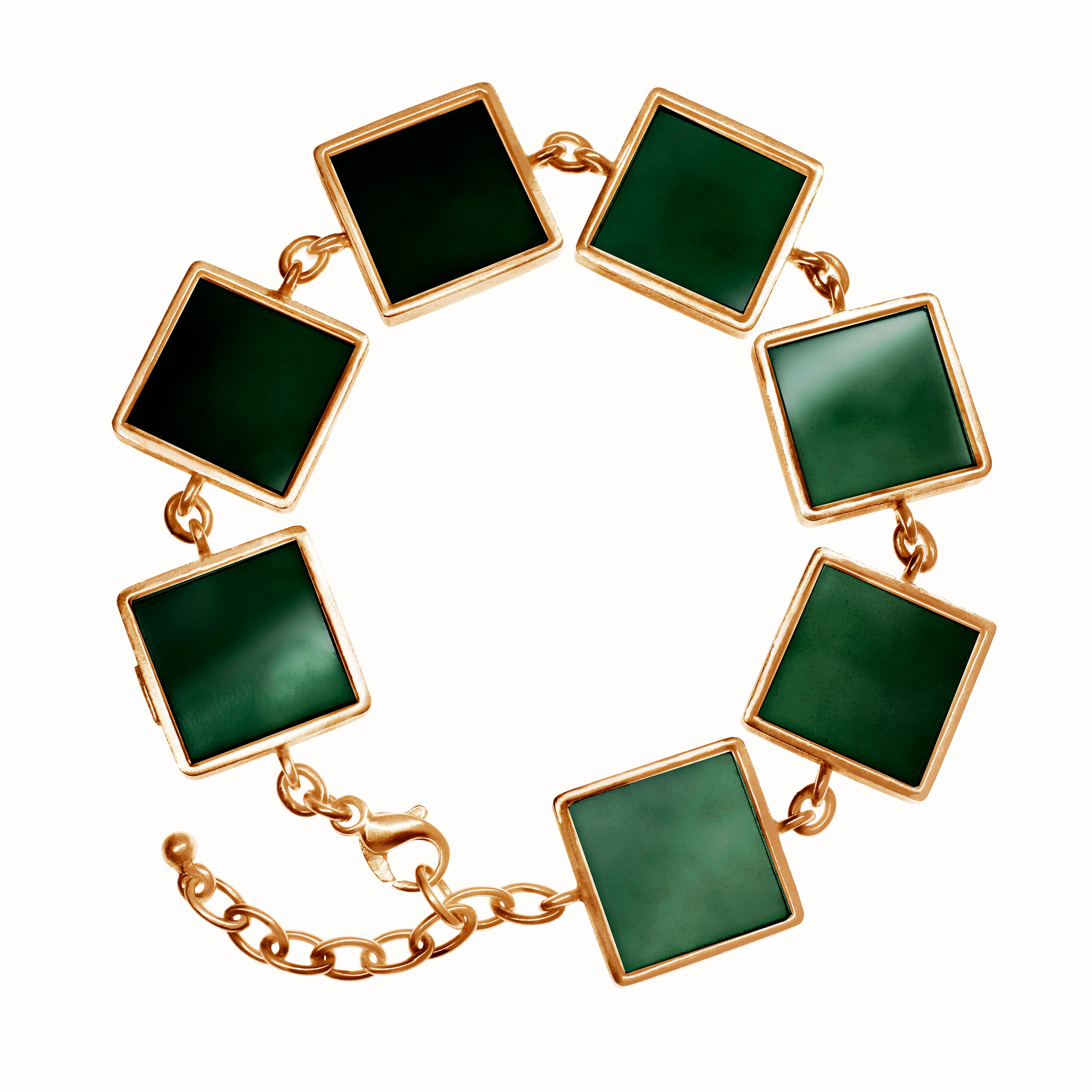 Rose Gold-Plated Silver Art Deco Bracelet with Green Quartzes, Featured in Vogue