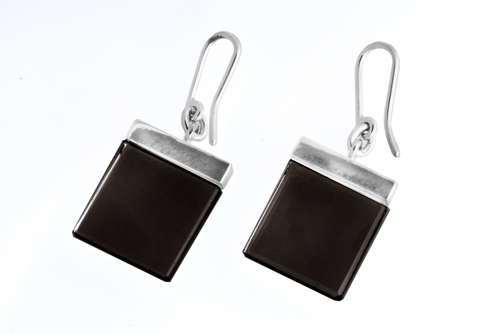 18 Karat White Gold Contemporary Ink Earrings by Artist with Dark Smoky Quartz