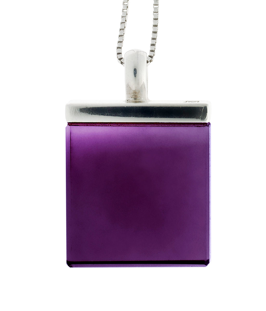 Ink Pendant Necklace with Vivid Amethyst