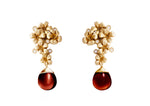 Plum Blossom Art Nouveau Earrings 0.3 Carat Diamonds in 18 Karat Yellow Gold