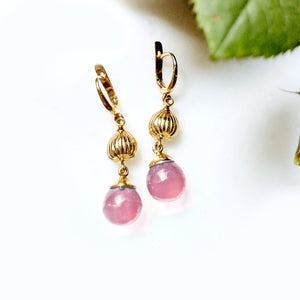 18 Karat Rose Gold Fig Cocktail Earrings with Rose Quartzes, Featured in Vogue