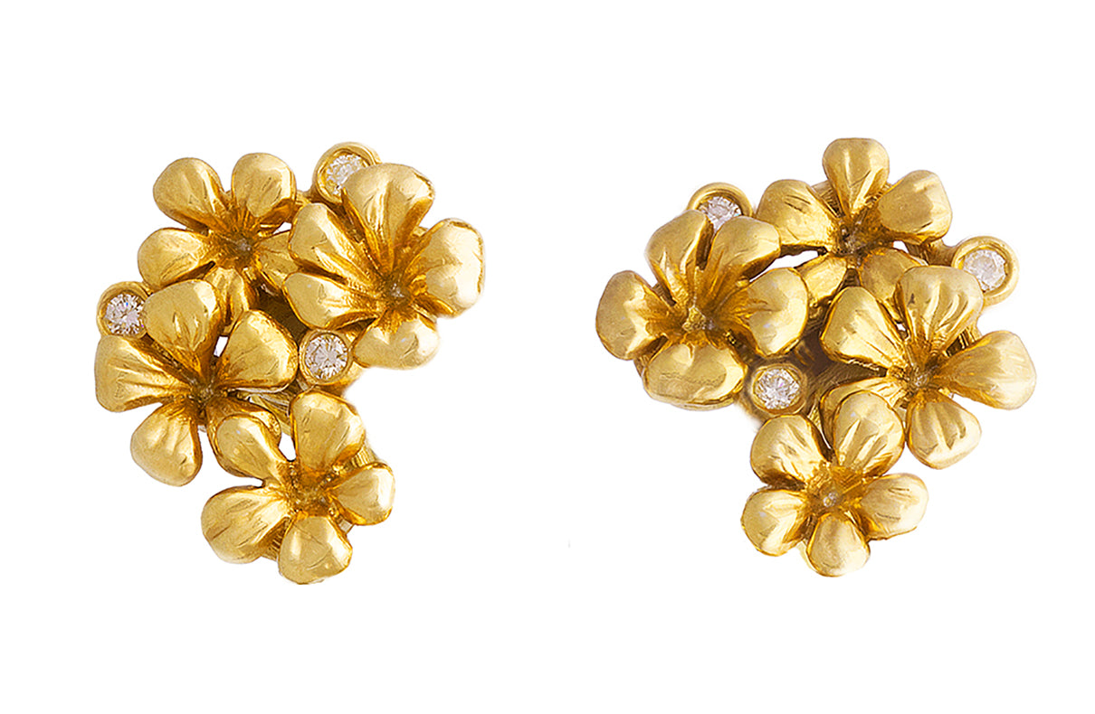 18 Karat Yellow Gold Contemporary Earrings by the Artist with Diamonds
