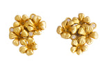 Yellow Gold Plum Flowers Earrings with Diamonds