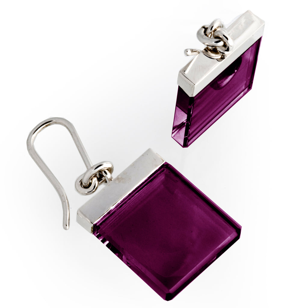 Art Deco Ink Earrings by Artist with Amethysts