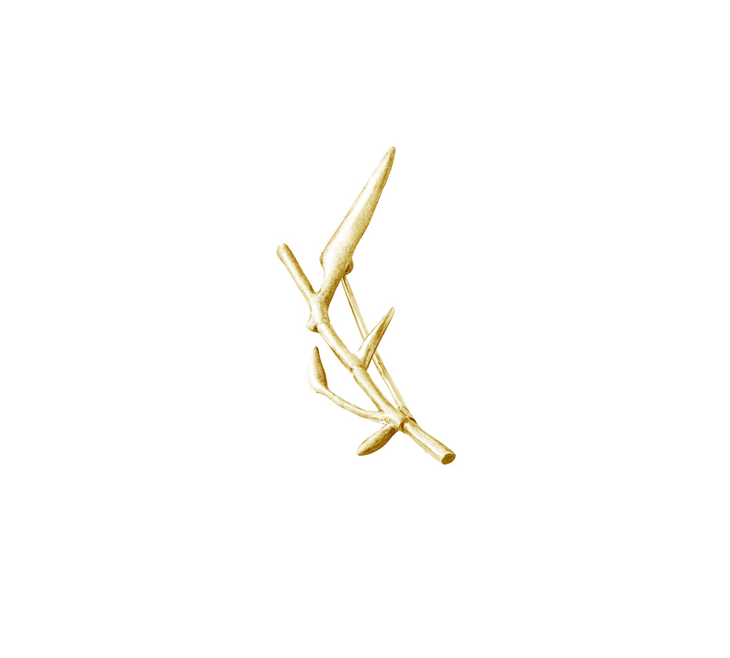 18 Karat Yellow Gold Bamboo Brooch N3