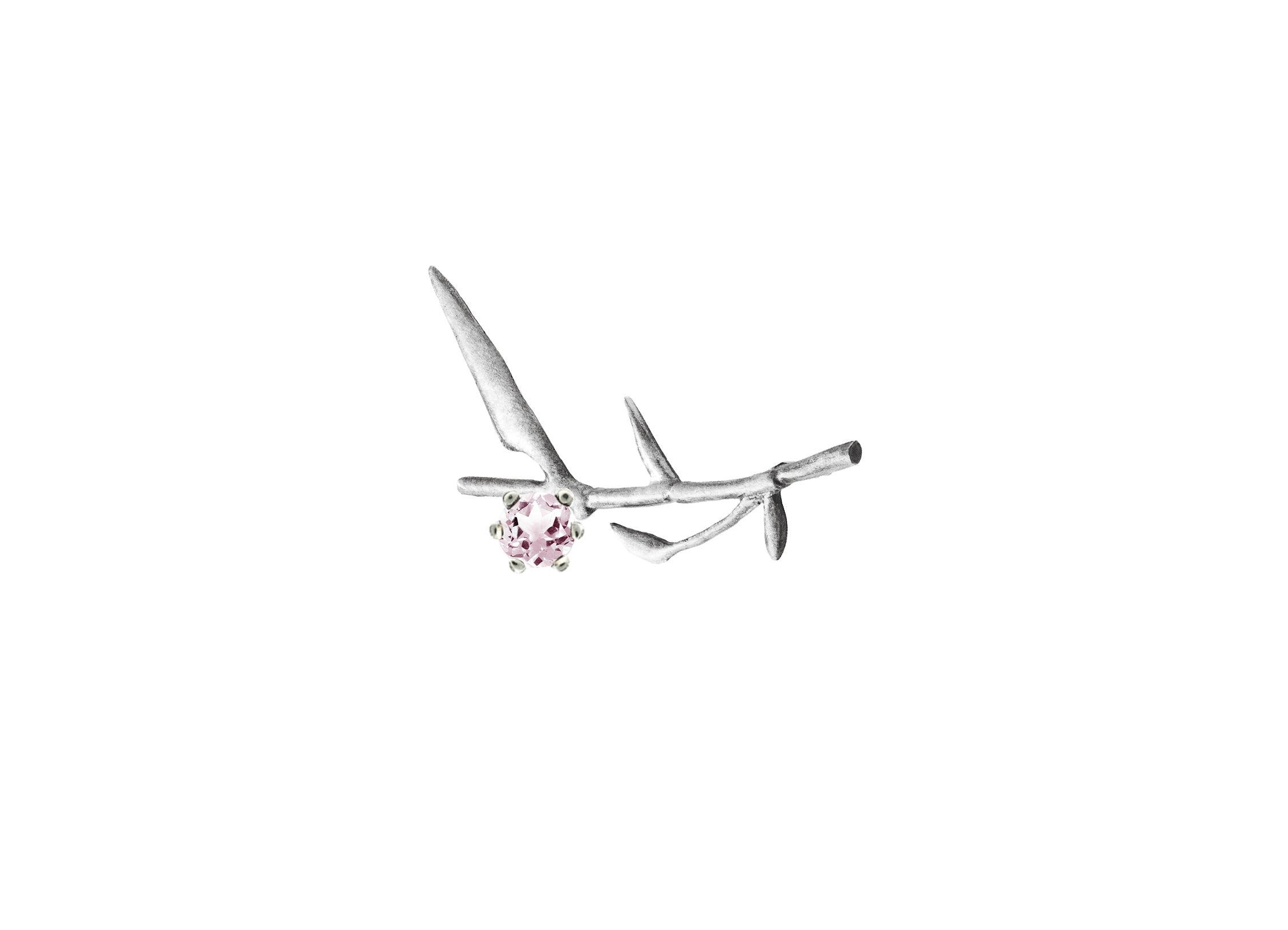 Bamboo twig brooch with rose spinel