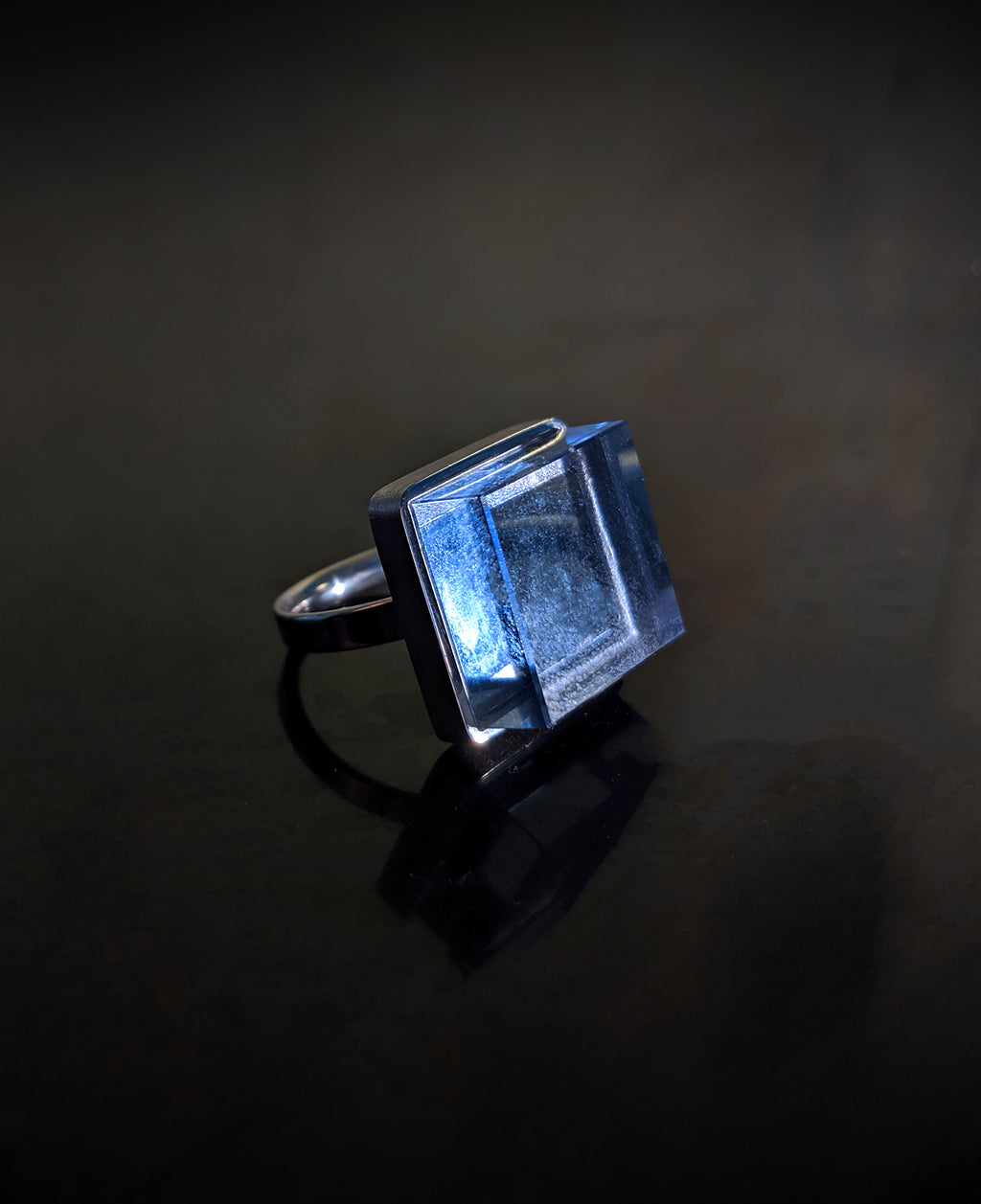 Sterling Silver Art Deco Ink Ring with Blue Quartz by Artist