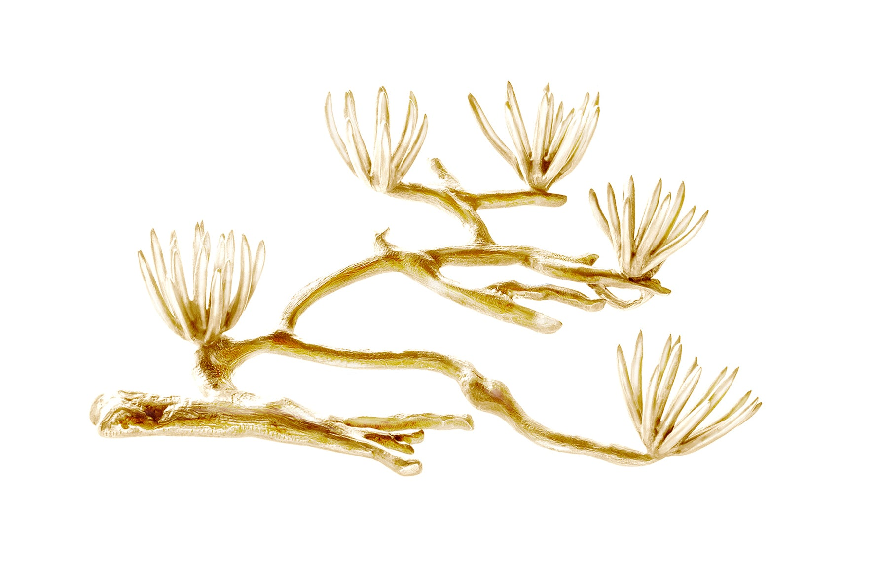 Yellow Gold Pine Brooch by the Artist, feat in Vogue