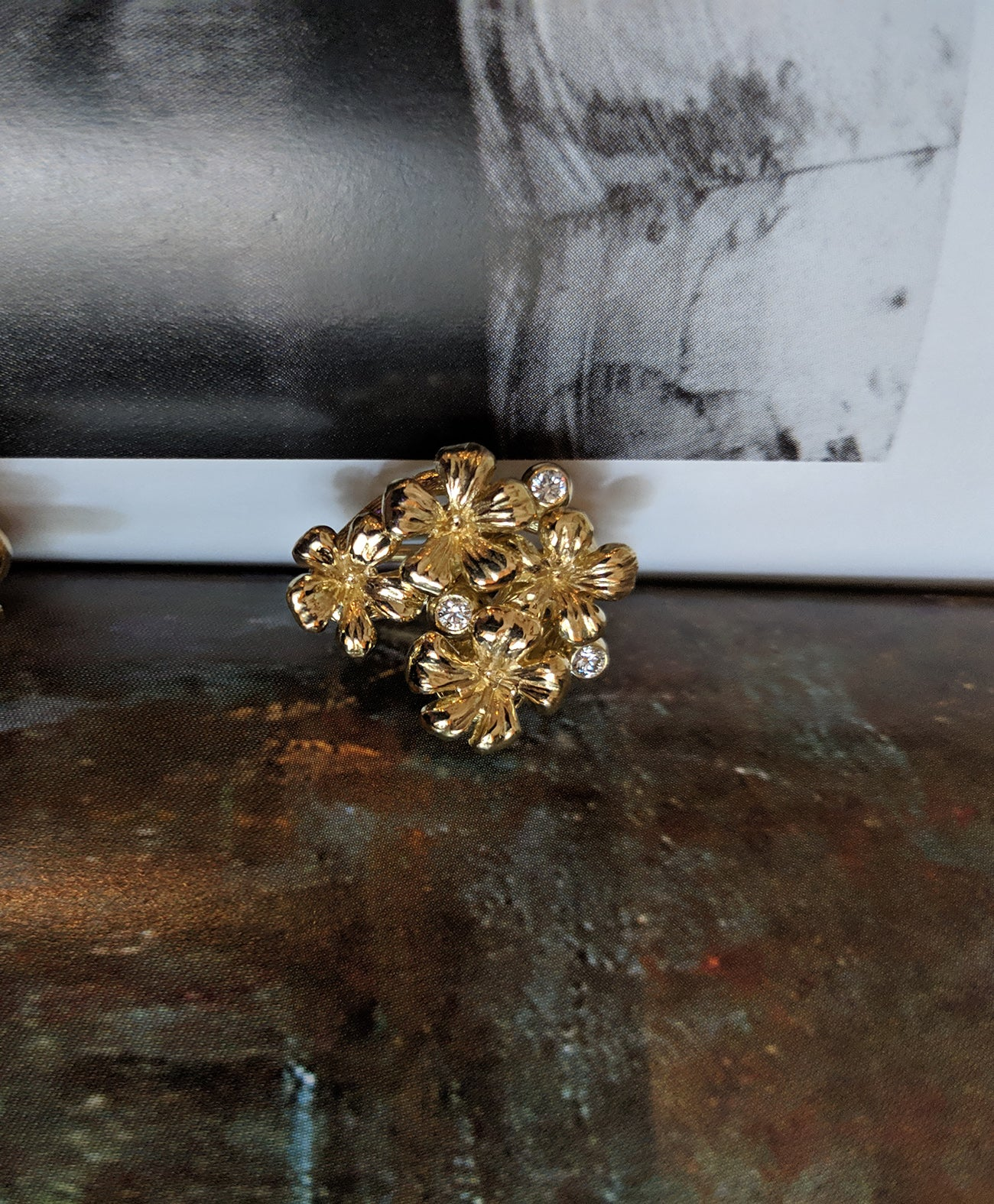 14 Karat Yellow Gold Plum Flowers Clip-On Earrings by The Artist with Diamonds