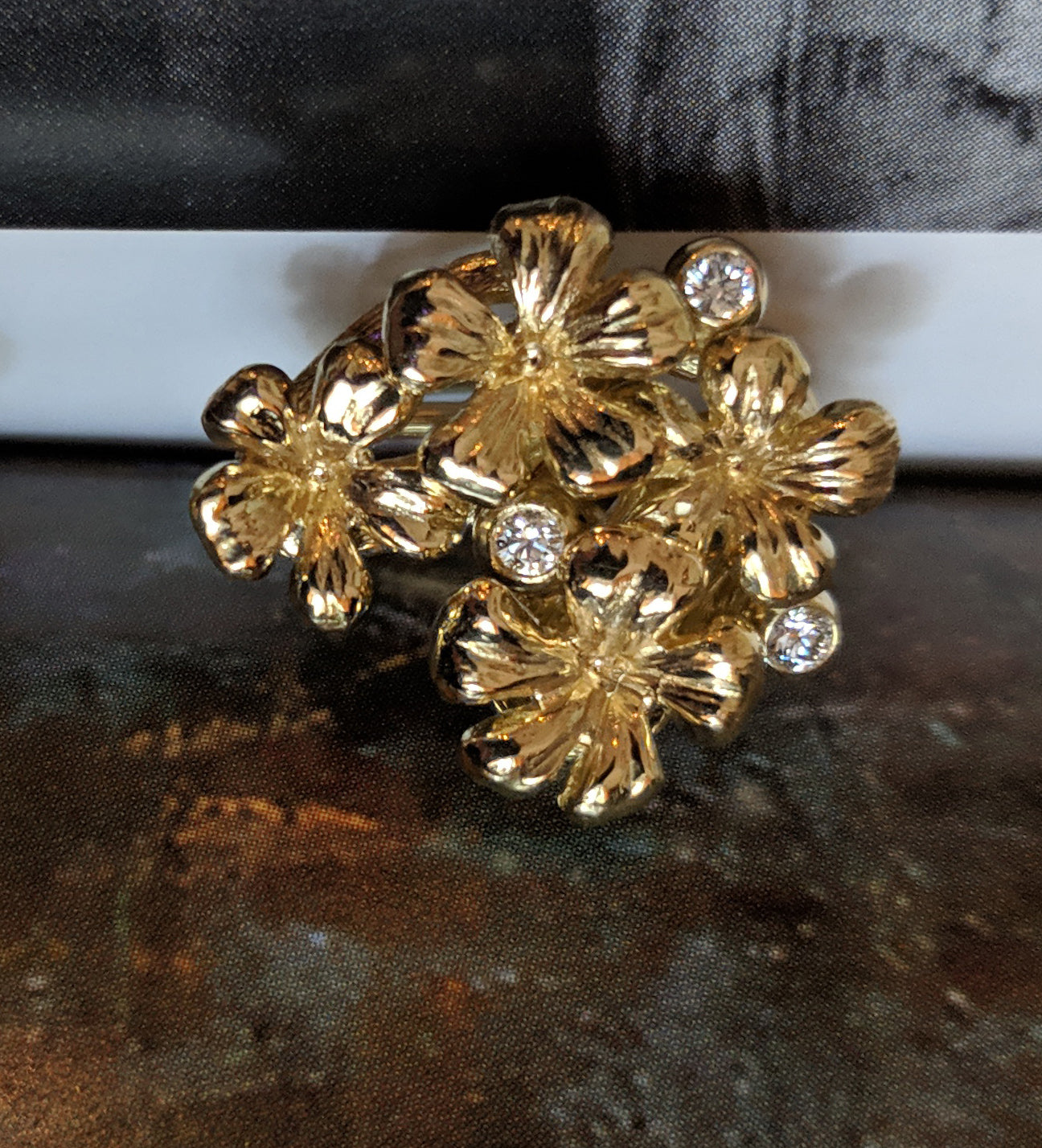14 Karat Yellow Gold Transformer Plum Blossom Brooch with Diamonds