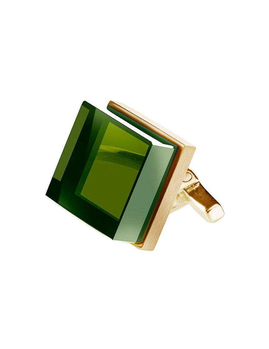 18 Karat Rose Gold Contemporary Ink Cufflinks by the Artist with Emeralds