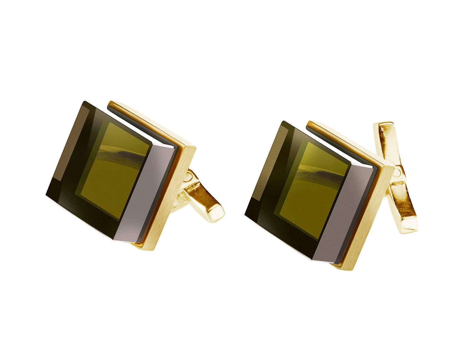 18 Karat Yellow Gold Contemporary Ink Cufflinks by the Artist with Morion