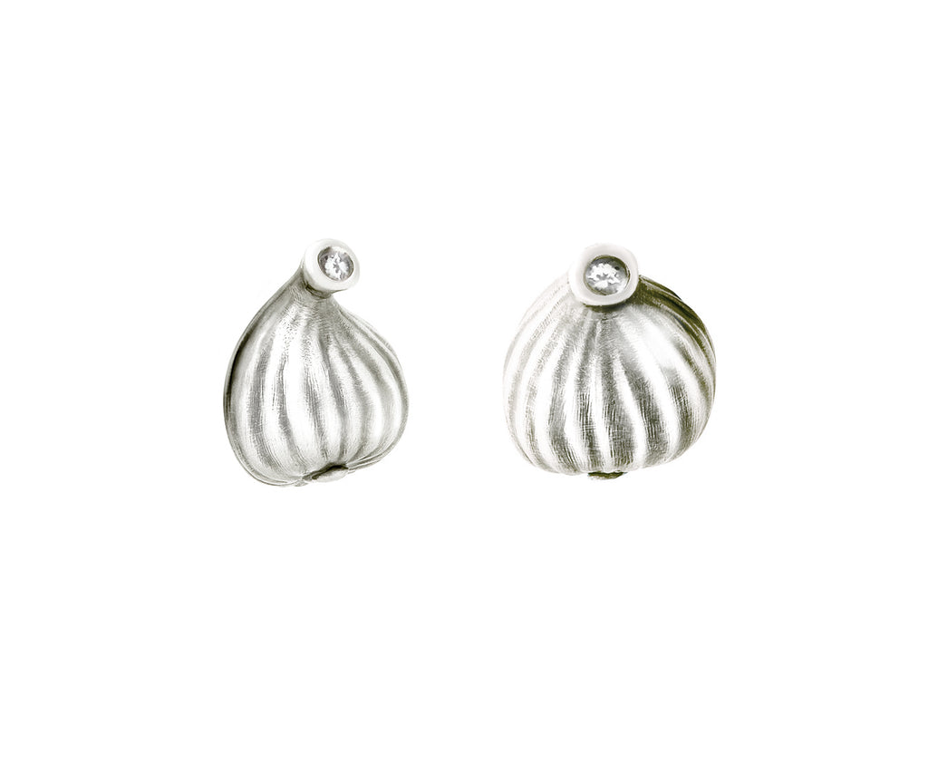 Sterling Silver Contemporary Fig Earrings with Diamonds, Feat. in Vogue