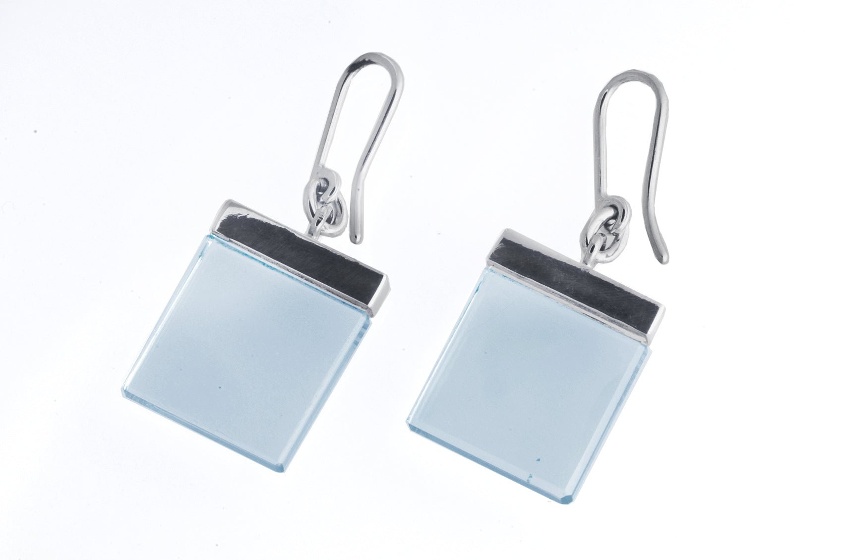 Contemporary Earrings by Artist with Light Blue Quartz