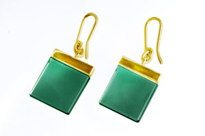 18 Karat Yellow Gold Art Deco Earrings by Artist with Green Quartzes