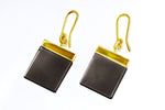 18 Karat Yellow Gold Contemporary Ink Earrings by Artist with Dark Smoky Quartz