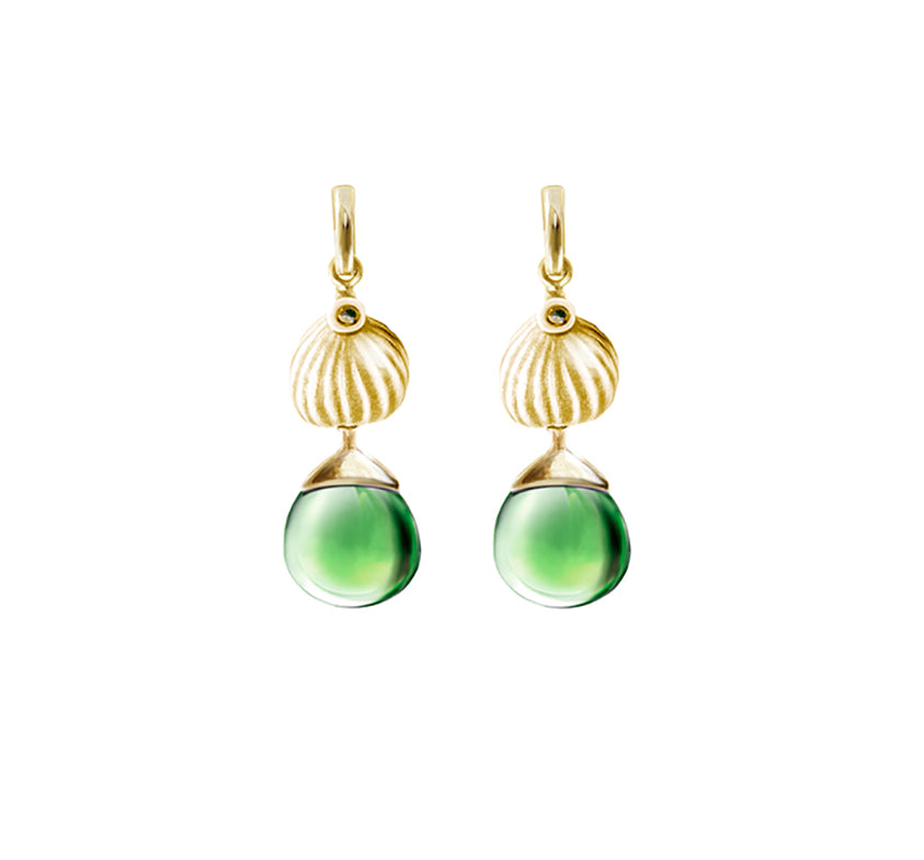 Yellow gold Fig earrings with green rock crystals