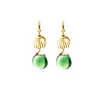 Yellow Gold Contemporary Fig Earrings with Green Quartz