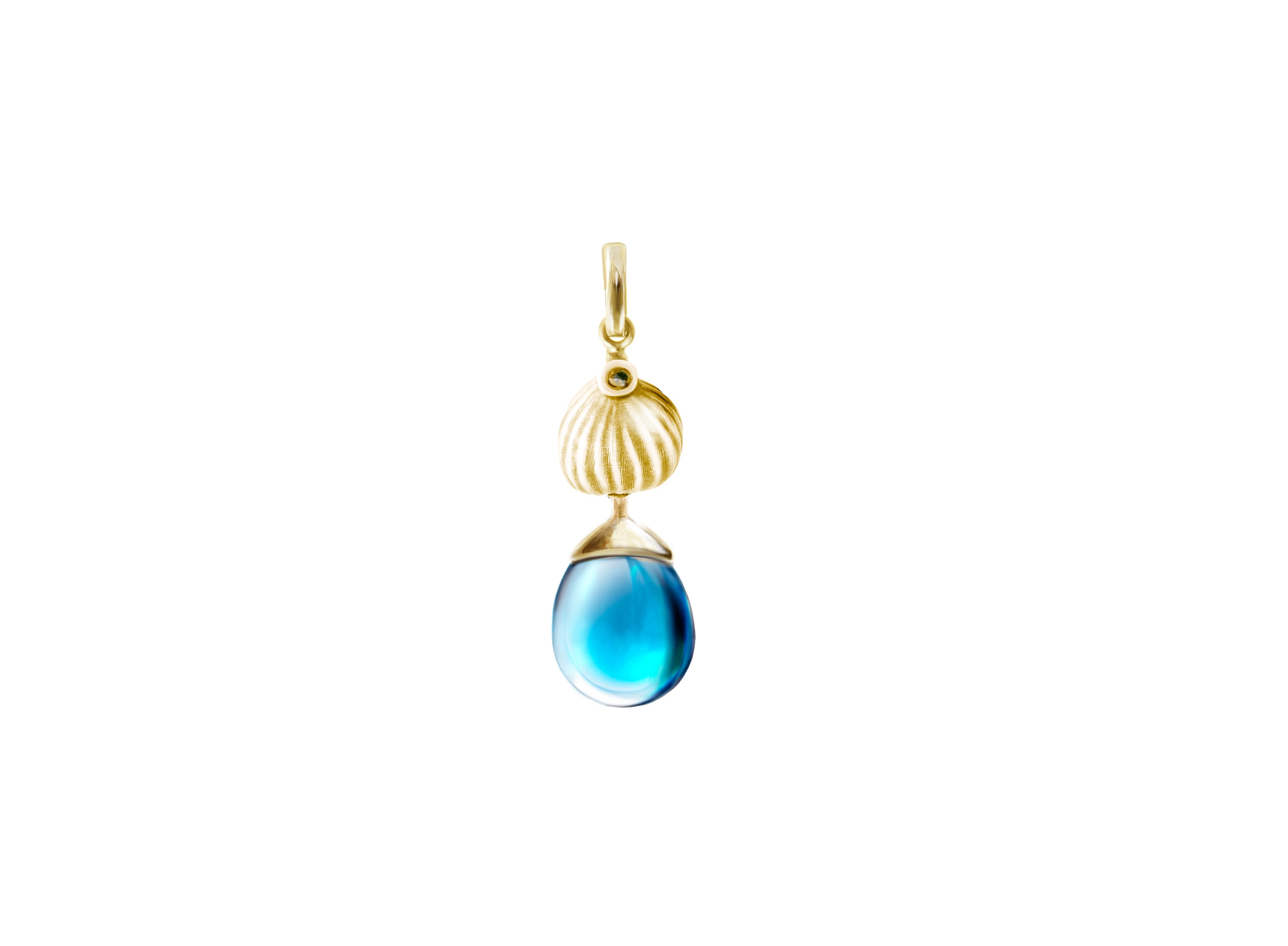 Fig pendant with topaz in 18 KT yellow gold