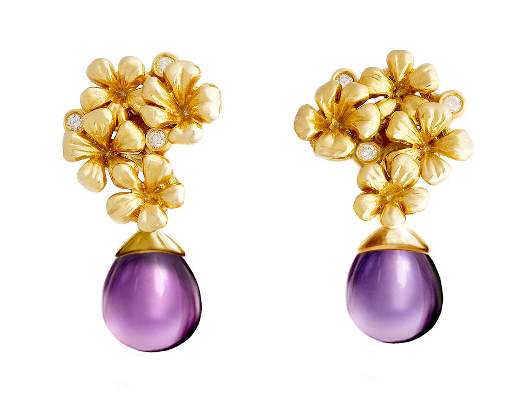 Yellow Gold Designer Blossom Earrings with Removable Drops of Amethysts