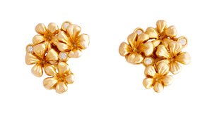 18 Karat Rose Gold Flowers Cocktail Earrings by the Artist with Diamonds