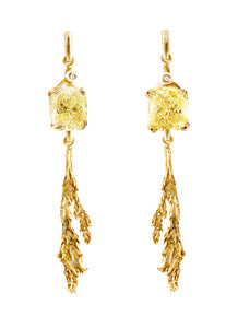 18 Karat Gold Contemporary Earrings with 4.02 Carat Yellow Diamonds