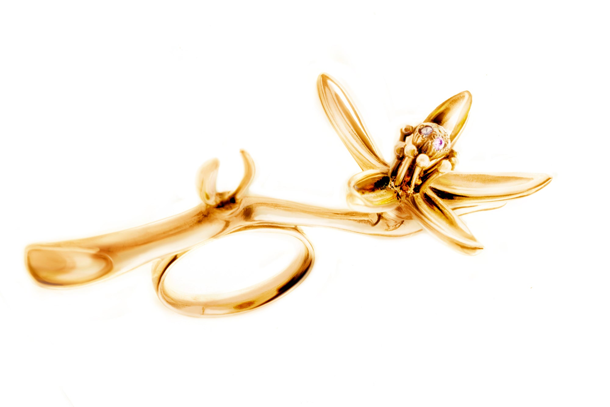 18 Karat Gold Art Nouveau Artist Orange Flower Cocktail Ring, Featured in Vogue
