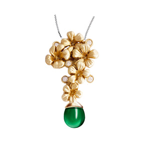 14 Karat Yellow Gold Plum Blossom Pendant Necklace