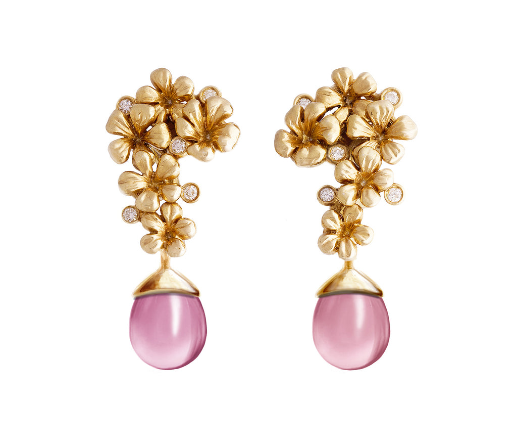 Plum Blossom Earrings by the Artist in 18 Karat Yellow Gold, 0.3 Carat Diamonds