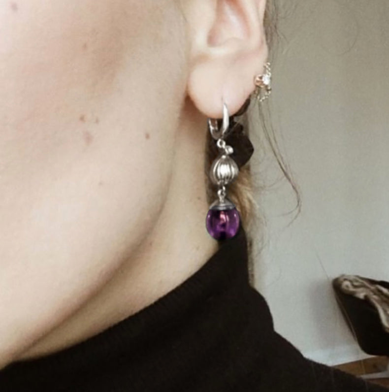 14 Karat Gold Fig Cocktail Earrings with Amethysts by the Artist