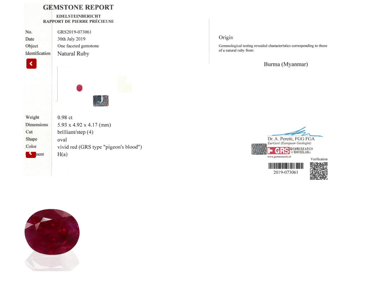 18 Karat Gold Cocktail Ring, GRS Certified Pigeon's Blood Ruby and Sapphires