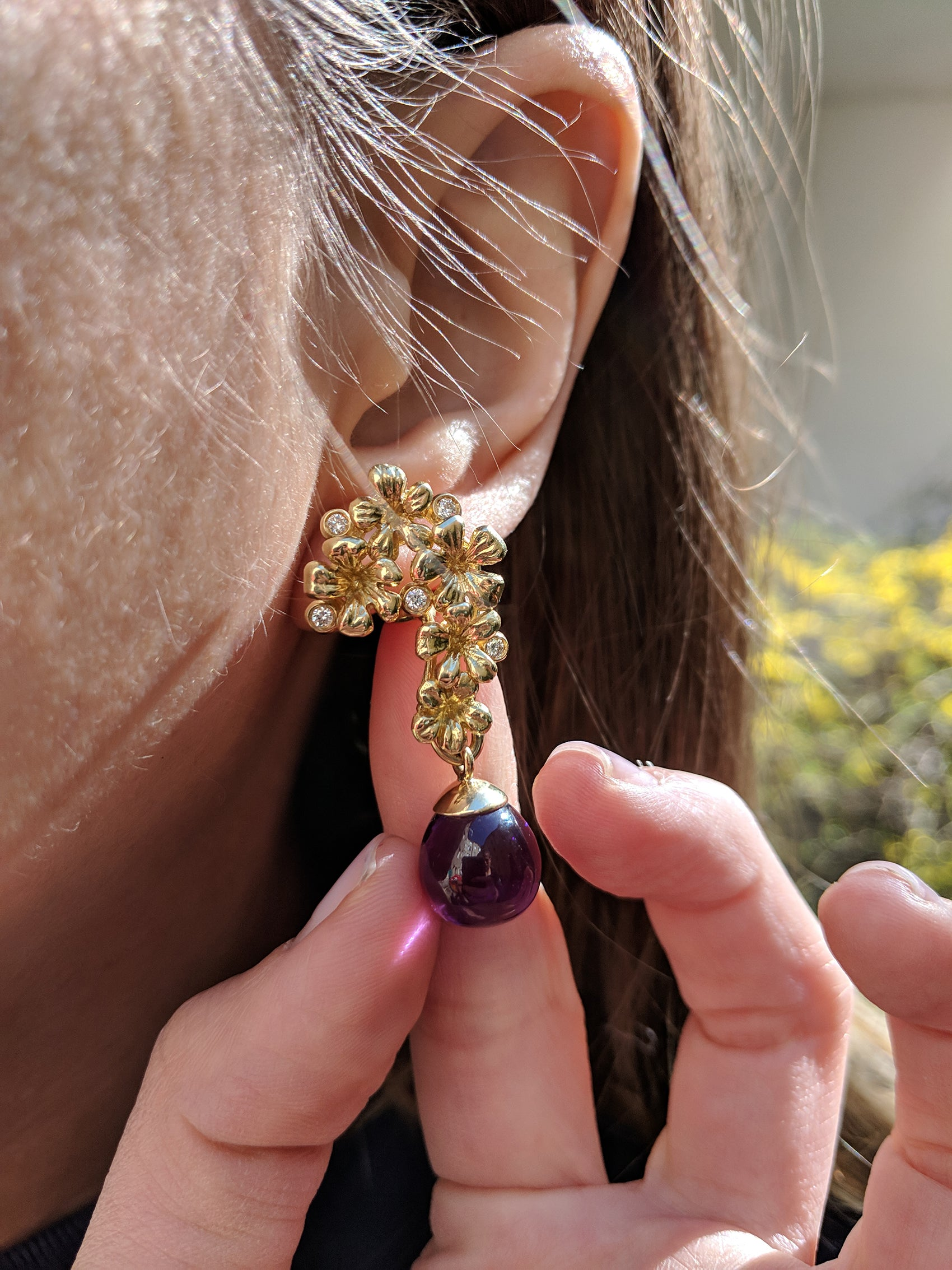 Plum Blossom Cocktail Earrings with Diamonds in 18 Karat Gold
