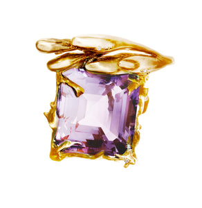 18 Karat Rose Gold Contemporary Ring by Artist with Lavender Amethyst
