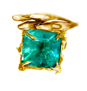Emerald Ring by Artist, 18 Karat Yellow or Rose Gold