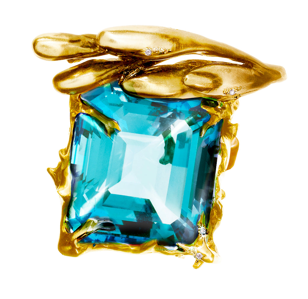 GIA Certified 22.59 Carat Aquamarine 18 Karat Yellow Gold Ring Featured in Vogue