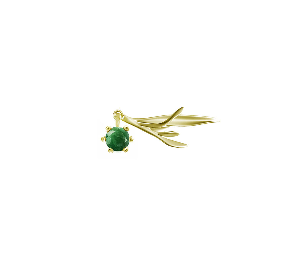 Rosemary brooch in yellow gold with emerald by Sweet Peas