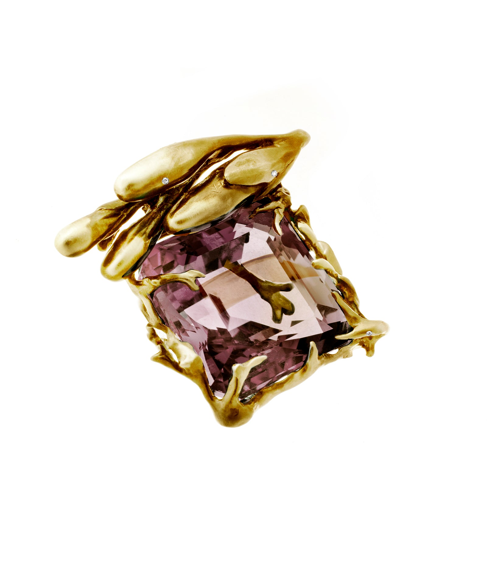 18 Karat Gold Ring by Artist with Rose Quartz and Diamonds